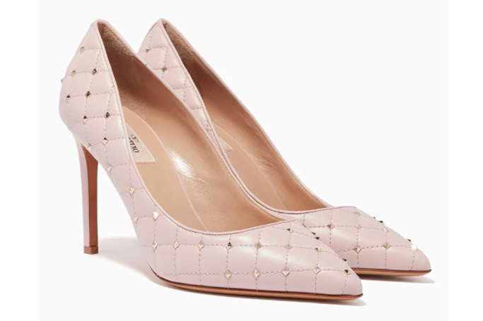 Valentino - Light-Pink Rockstud Spike Court Quilted Pumps